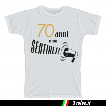 T-shirt 70 anni e non sentirli megafono